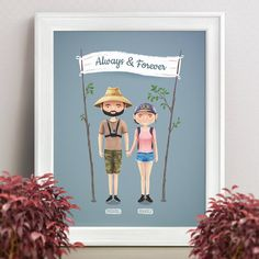 I love nature and what my husband @nubeaxdesign does so I just need to share this with you!❤It's a custom illustrated portrait that he made for a couple who are into nature, traveling and adventures! I'm in love with the details like straw hat, GoPro camera and tree branches.💕Definitely see some close ups 👉@nubeaxdesign !😉  Although I may post them too, I'm not sure yet.😊#nubeaxdesign