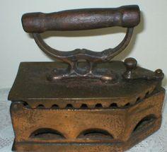 Sad Iron Coal Cast Iron Wood Handle Primitive  Antique Vintage Copper Plated Steampunk