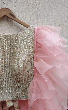 Pink Organza Lehenga with Ruffle Dupatta - Frugal2Fab