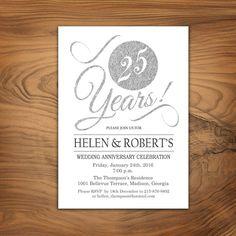 Invitación de aniversario de bodas 25 / brillo invitación