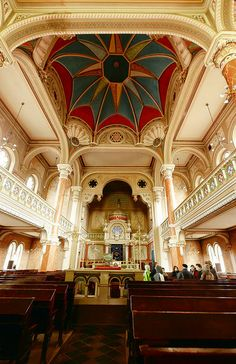 Great Synagogue of Targu Mures interior Synagogue Architecture, Sacred Architecture, Architecture Design, Jewish Synagogue, Monuments, Visit Romania, World Travel Guide, World Religions, The Beautiful Country