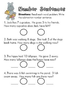 Worksheets Number Sentence Worksheets first grade math unit 3 addition to 10 lessons change writing subtraction number sentences from word problems also pinned addition