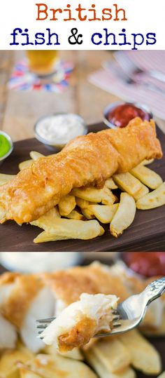 British fish & chips are a national treasure and there's no denying their popularity. Fresh cod is beer battered then shallow fried to golden perfect and served with a side of thick cut chips and peas(Cod Fish Recipes) English Fish And Chips, British Fish And Chips, Irish Fish And Chips Recipe, Homemade Fish And Chips, Cod Fish Recipes, Seafood Recipes, Cooking Recipes, Cooking Fish, Seafood