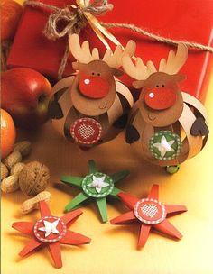ОЛЕНЬ Рудольф и Рождественские ЗВЕЗДЫ в технике бумажных шаров - Поделка, Игрушка на елку, Подарок своими руками к Рождеству, Новому году