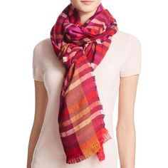 Echo Holiday Striped Scarf (4,140 INR) ❤ liked on Polyvore featuring accessories, scarves, ruby, striped scarves, echo scarves, evening shawls, evening scarves and holiday scarves