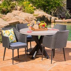 New Nelson Outdoor 5 Piece Grey Wicker Dining Set White Light Weight Concrete Table Mixed Balck Water Resisant Cushions online shopping - Proalloffer Sectional Patio Furniture, Patio Lounge Chairs, Patio Dining, Outdoor Dining, Outdoor Furniture Sets, Outdoor Decor, Outdoor Patios, Dining Furniture, Kids Furniture