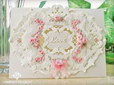 Ivory vellum wedding card, with pink floral accents, by cre8nart, featuring Poppy Stamps 'Angel Corner' die, along with Elizabeth Craft, Marianne Designs 'Anja', and Spellbinders dies