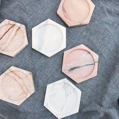 【暖色圈 粉色系】 六角碟子 大理石盤 居家裝飾 飾品擺盤