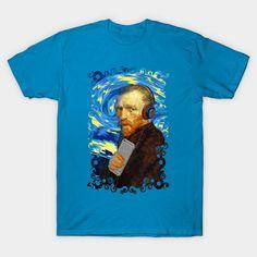 DJ Van Gogh Starry night Abstract Painting  Unisex T-Shirt #tshirt #tee #clothing #starrynight #doctorwho #nerd #geek #funny #cool #tardis #nerdy #geeky #badwolf #nerds #fandom #drwho #who #timetravel #british #abstract #oilpainting #vincent #vangogh #vincentvangogh #brushstrokes #impressionism #impressionist #pandoricaopens #thepandoricaopens #pandorica #episode #popular #decorative #prophecy #handdrawntextured #music #headset #earphone #apple #hippie #hipster #blue #discjockey
