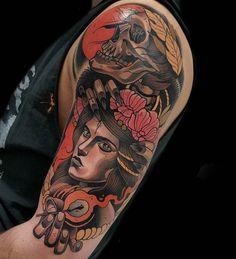 shoulder neo-traditional tattoo skeleton
