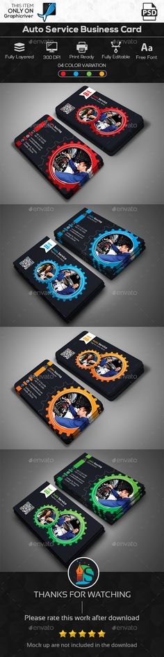 Auto Service Business Card — Photoshop PSD #professional flyers #Car Repair • Available here → https://graphicriver.net/item/auto-service-business-card/15980579?ref=pxcr