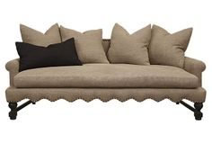 """Abby Sofa  --  87""""w x 40""""d x 33""""h (22"""" seat height)  --  5400.00 retail as shown in Belgian washed burlap."""