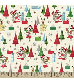 holiday inspirations christmas fabric vintage santa mickey friends - Disney Christmas Fabric