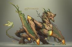 A fungal, wood dragon that breathes a spores and infects its enemies. Forest Creatures, Magical Creatures, Fantasy Creatures, Monster Design, Monster Art, Creature Concept Art, Creature Design, Fantasy Kunst, Fantasy Art