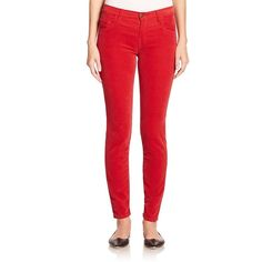 Tomas Maier Velvet Skinny Pants ($365) ❤ liked on Polyvore featuring pants, apparel & accessories, dark blue, zipper pants, 5 pocket pants, velvet pants, red pants and skinny pants