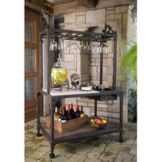 Wrought Iron Tuscan Party Center- Brown