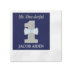 Mr. One-derful White Coined Cocktail Napkin
