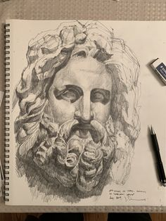 "This is a copy of a drawing of a cast of ""Zeus of Otricoli"". A statue found in Otricoli in 1775 during the excavation financed by Pope Pius VI. It is on display in the Sala Rotonda of the Pio-Clementine Vatican Museum"