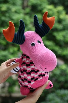 Plush stuffed animal Personalized toys deer by Toyapartment, $25.90