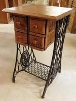 Oak Singer sewing machine side stand with 4 drawers...repurposed from an old sewing machine cabinet. Makes a great night stand or side table!