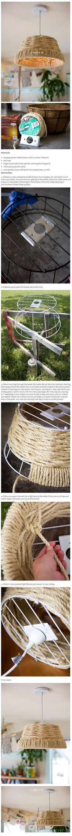 woven rope pendant lamp Design Sponge DIY AshleyAnn. I could try this to make the rope baskets I want to make!