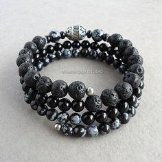 Enrouler autour de Bracelet pour homme fait avec Onyx noir, Pierre de lave,  obsidienne 99477be2c90