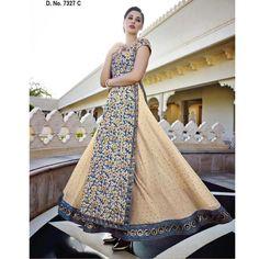 Nargis Fakhri Beige and Blue Georgette #Anarkali Suits- $168.81