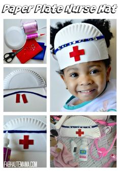 Sick Toddler Survival Kit + DIY Paper Plate Nurse Hat Arts and Crafts: How to make a paper plate nurse hat DIY. Plus what to keep in your Sick Toddler Survival Kit. Toddler Crafts, Toddler Activities, Crafts For Kids, Kids Diy, Preschool Lessons, Preschool Activities, Space Activities, Sick Toddler, Sick Kids