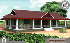Traditional Kerala Style House Designs with Beautiful Single Storey Houses Having Single Floor, 3 Total Bedroom, 3 Total Bathroom, and Ground Floor Area is 1800 sq ft, Hence Total Area is 1800 sq ft Single Floor House Design, House Front Design, Small House Design, House Floor, One Bedroom House Plans, Dream House Plans, Modern House Plans, Kerala Traditional House, Traditional House Plans