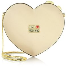 Moschino Love Moschino - Heart Satin Twistlock Clutch ($180) ❤ liked on Polyvore
