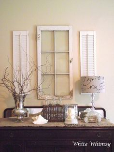 Shutters and window. great way to reuse an old window frame and shutters Country Decor, Wall Decor, Decor, House Design, Old Shutters, Home Projects, Shabby Chic, Inspiration, Home Decor