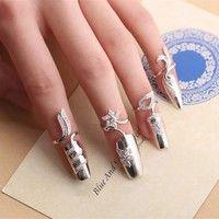 2016 Fashion Fingernails Ring Silver Nail Art Women's Retro Nail Decoration Tip Nail Finger Ring Cute Nail Jewelry Nail Jewelry, Cute Jewelry, Unique Jewelry, Jewelery, Jewelry Accessories, Jewelry Design, Flower Jewelry, Jewelry Party, Glass Jewelry