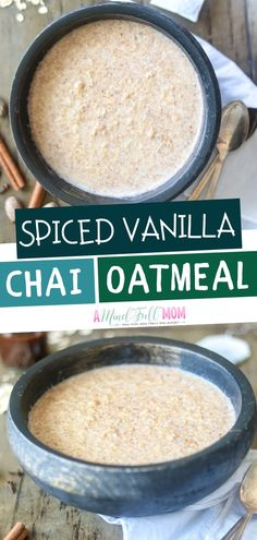 A creamy bowl of wholesome oatmeal perfectly flavored with a blend of black tea, cinnamon, ginger, cardamom and vanilla! This warming spiced oatmeal tastes like your fave chai latte. Save this pin!