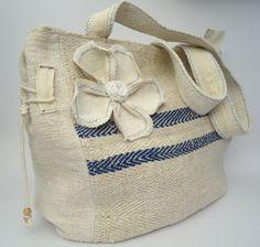 SHOULDER BAGS made from Antique linen and Vintage grain sack