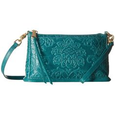 Hobo Cadence (Damask Embossed Teal Green) Cross Body Handbags ($138) ❤ liked on Polyvore featuring bags, handbags, shoulder bags, blue leather handbags, crossbody purses, leather shoulder handbags, hobo crossbody and handbags crossbody