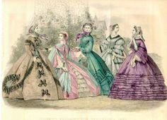 Civil War ball gown dress Godey's Petersons 1860's fashion ladies women
