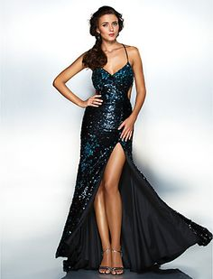 Sheath/Column Spaghetti Straps Floor-length Sequined Evening Dress - USD $ 179.99