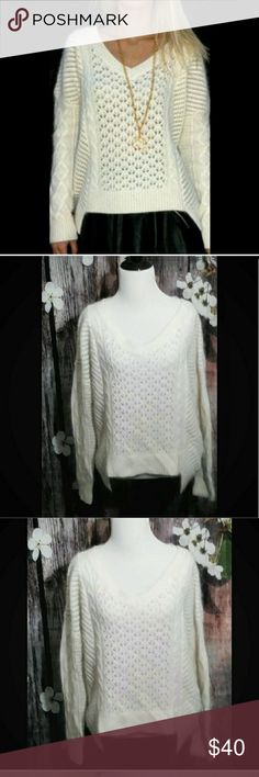 French Connection Angora Sweater French Connection Feather Knitted Angora Sweater  Ivory / Cream Color  EUC Worn Twice French Connection Sweaters