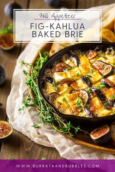 This fig baked Brie is spiked with Kahlua to make the most decadent fall appetizer! Every bite is loaded with cheesy goodness, and you can make it with fresh or dried figs. You'll love this boozy baked Brie!