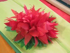 DIY ::  Paper Poinsettia ( Tissue paper and ribbon )