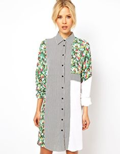 Enlarge ASOS Shirt Dresn Mixed Stripe And Floral rint (