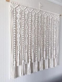 Macrame Curtain/ Large Macrame Wallhanging/ Kitchen Valance/ image 3 backdrop for pictures Macrame Wall Hanging Patterns, Large Macrame Wall Hanging, Macrame Patterns, Tapestry Wall Hanging, Macrame Design, Macrame Art, Macrame Projects, Kitchen Valances, Macrame Curtain