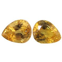 0.94 ct Pair of Pear Shape Yellow Sapphires Fine Yellow -Gold Crane & Co.