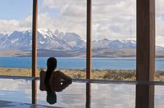 Pool with a view at Tierra Patagonia Hotel & Spa in Torres del Paine, Chile