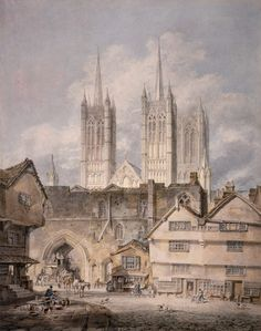 Joseph Mallord William Turner 'Cathedral Church at Lincoln', exhibited 1795 - Watercolour and graphite on paper - Dimensions Support: 446 x 348 mm - © The British Museum Joseph Mallord William Turner, Lincoln Cathedral, Cathedral Church, Art Romantique, Turner Painting, Joseph Williams, English Romantic, Magna Carta, Watercolor Landscape Paintings