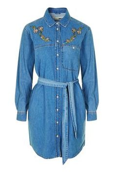 MOTO Floral Embroidered Shirt Dress