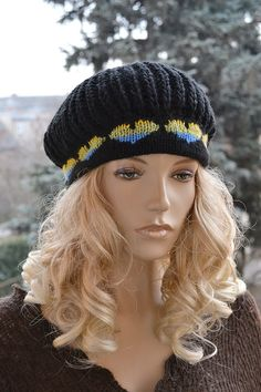 Black Knitted cap in blue hearts / hat lovely warm by DosiakStyle ♡ ♡