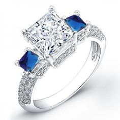 Customized Ring: .98ct Princess Cut Diamond Engagement Ring With 2 Sapphire Side Stones SI H