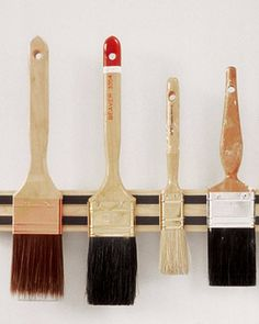 Paintbrush Rack | Martha Stewart Living - Magnetic knife holders sold at kitchen-supply stores can be mounted to the wall with a few screws and will keep paintbrush bristles from being squashed.