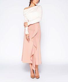 Blush Ruffle-Front Midi Skirt - Plus Too